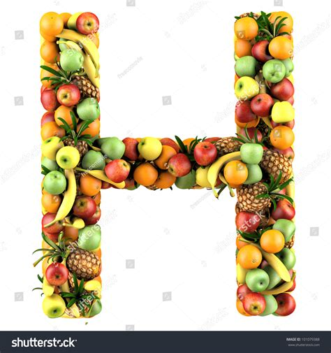 fruit with h letter h made of fruits isolated on a white stock