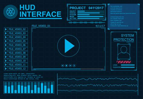command pattern ui hud interface vector set download free vector art stock