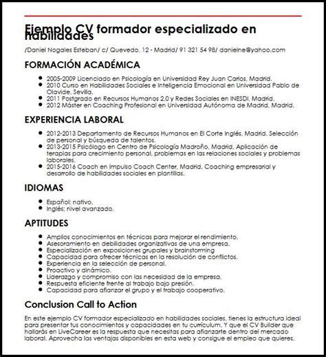 Modelo De Curriculum Con Habilidades Y Destrezas Ejemplo Cv Formador Especializado En Habilidades Sociales Micvideal