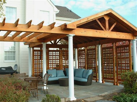 exterior how to cover your deck with wooden pergola