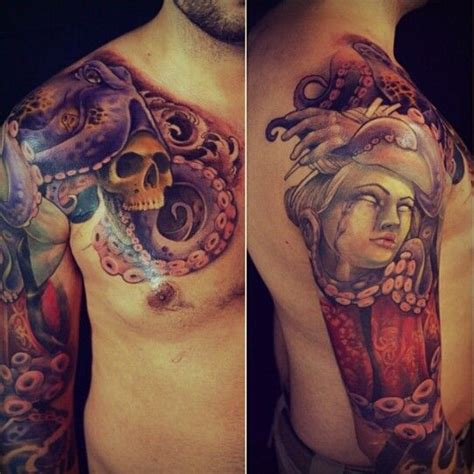 Japanese Tattoo In Chicago | japanese geisha and octopus 3 4 sleeve by rick serna