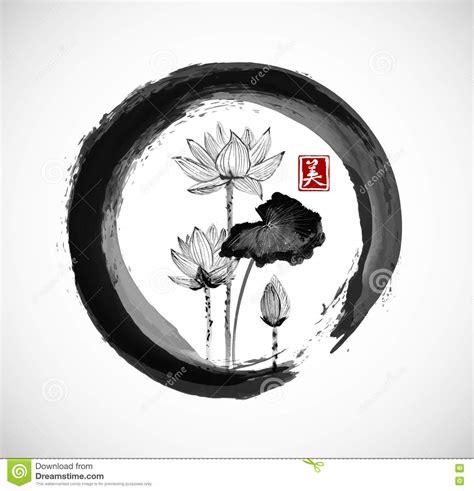 imagenes circulo zen flores de lotus en c 237 rculo negro del zen del enso