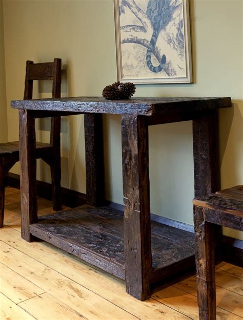 reclaimed sleeper wood console table