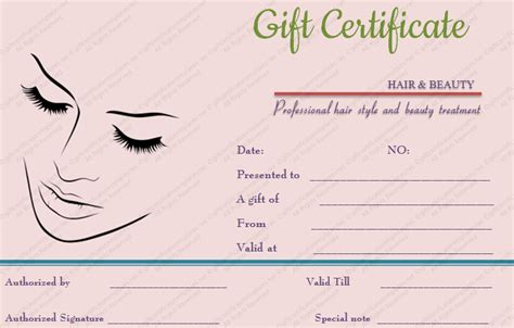Makeup Gift Certificate Template printable simple hair and gift certificate