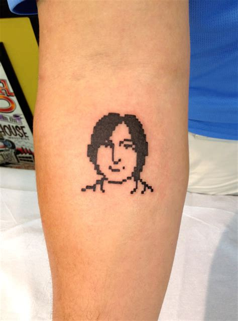tattoo back jobs susan kare s 32 215 32 pixels of steve jobs on my flesh and