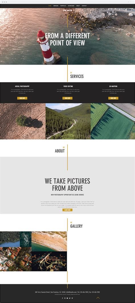 12 Stunning Photography Website Templates For All Genres Aerial Photography Website Templates