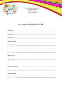 Contact Info Template by Emergency Contact Form Template Vertola
