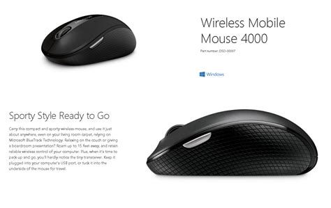 wireless mobile mouse 4000 microsoft 4000 mobile wireless mouse usb d5d 00007