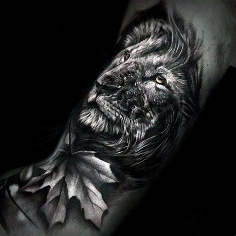 realistic lion tattoo designs 3d leaf with guys realistic arm tattoos