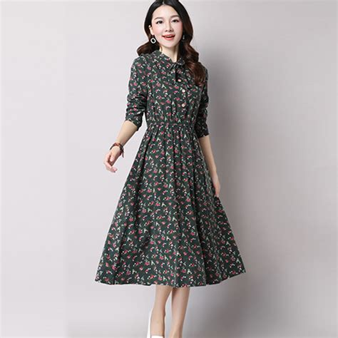 Dress Wanita Flowers aliexpress buy green floral dress vintage dresses bohemian style autumn winter