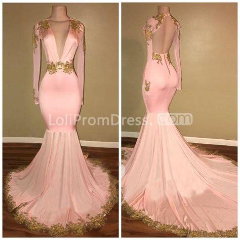 pink long prom dresses  mermaid  neck long