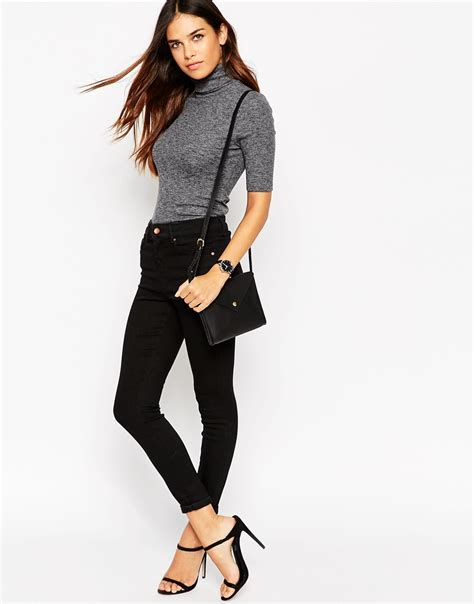 Gray Turtle Neck Top Z006 asos turtle neck top in textured rib with sleeve grey in gray lyst