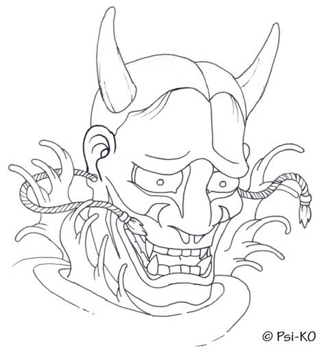 Outline In Color Masks Japanese by Japanese Hannya Mask Coloring Coloring Pages
