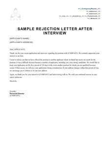 Rejection Letter Of Resignation grant decline letter template rejection letter sle candidate catering cover