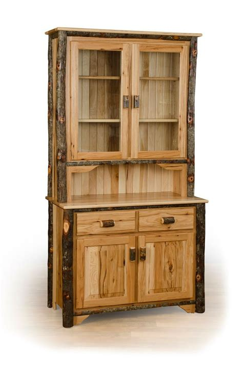 Hickory Chair China Cabinet by Rustic Hickory 2 Door Buffet And Hutch China Cabinet