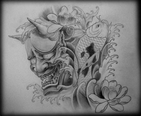 flowers and hannya mask half sleeve tattoos