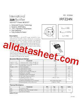 transistor mosfet irfz24n irfz24n datasheet pdf international rectifier