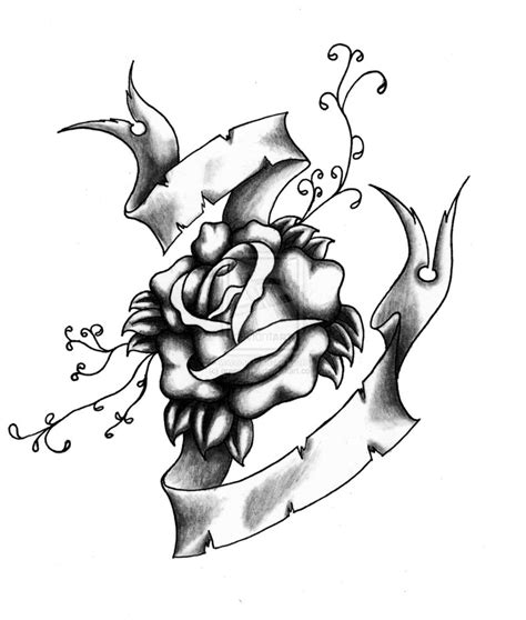 rose and banner tattoo designs easy banner and coloring pages