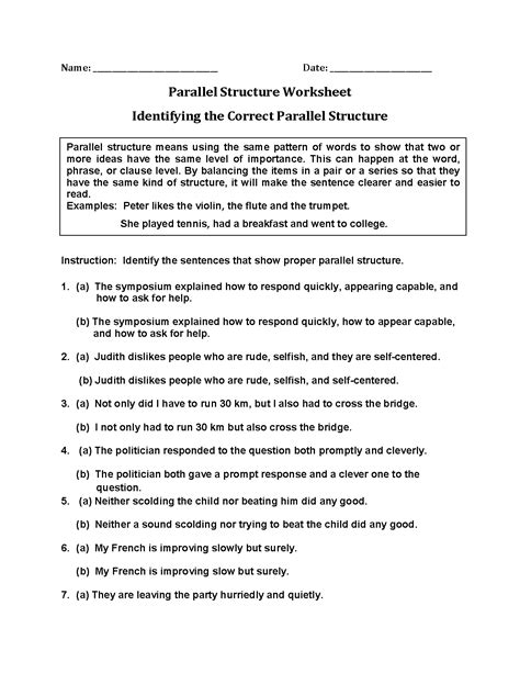 Parallel Structure Worksheet With Answers by Parallelism Worksheet Worksheets For School Getadating
