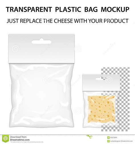 Transparent Plastic Bag Mockup Ready For Your Design Blank Pack Stock Vector Image 63275692 Plastic Bag Design Template