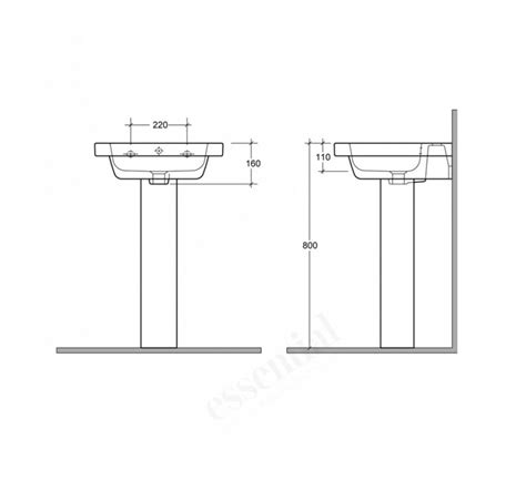 pedestal only for basin essential ivy pedestal basin only 650mm with 1 tap hole