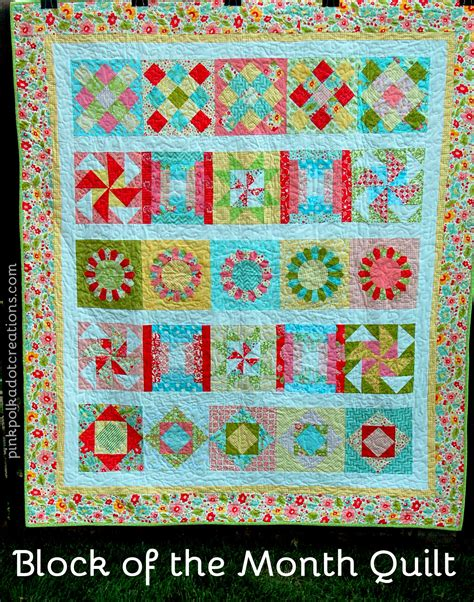 Block Of The Month Block Of The Month Quilt Pink Polka Dot Creations