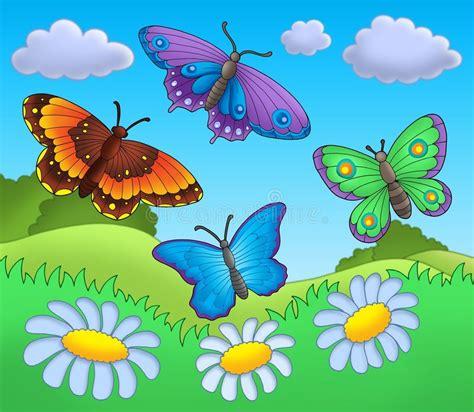 clipart farfalle farfalle sul prato illustrazione di stock immagine di