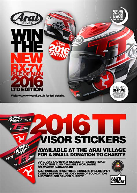 Sticker Decal Visor Helm 2 win the arai iom tt helmet plus arai isle of tt visor