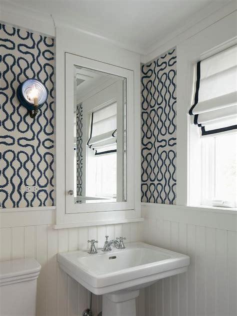 Good Beadboard Bathroom Vanity Cabinets #6: White-blue-powder-room-wallpaper-beadboard-wall-trim.jpg