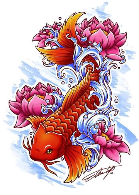 orange koi fish tattoo design lotus flower koi fish orange color design jpg 600