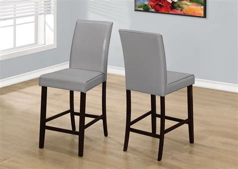 grey leather counter height dining set of 2 1902