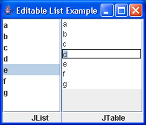 java swing list editable list exle list 171 swing components 171 java