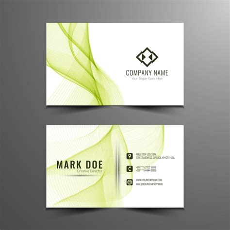 Travel Business Card Template With Wavy Designs by Green Wavy Business Card Template Vector Free