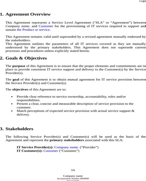 basic service level agreement template service level agreement template for free page