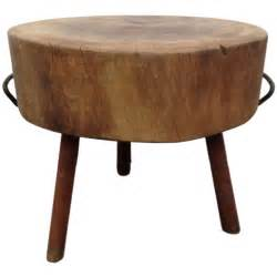 Butcher round table block made out from a very thick piece of solid