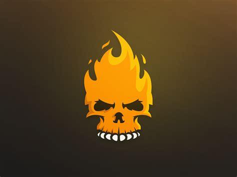 fire skull logo on behance mascot branding and logos