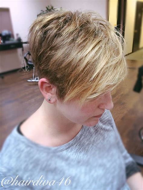 pictures of how tocut a fringe hair around the face textured pixie cut on thick coarse hair balayage