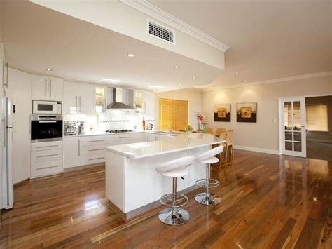 open plan kitchen ideas classic open plan kitchen design using hardwood kitchen photo 346571