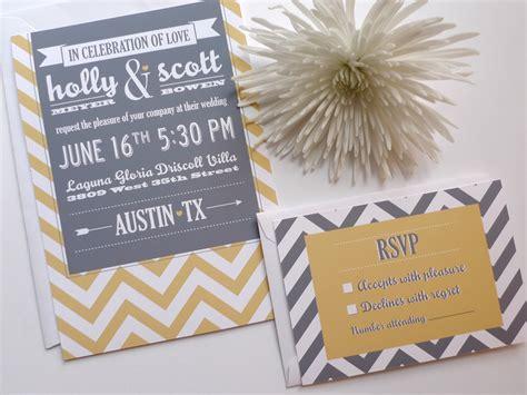 grey and white chevron wedding invitations wedding invitations gold gray white chevron onewed