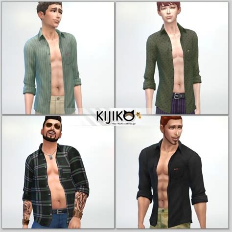 Kk Home Decor Kijiko Open Shirt For Male Sims 4 Downloads