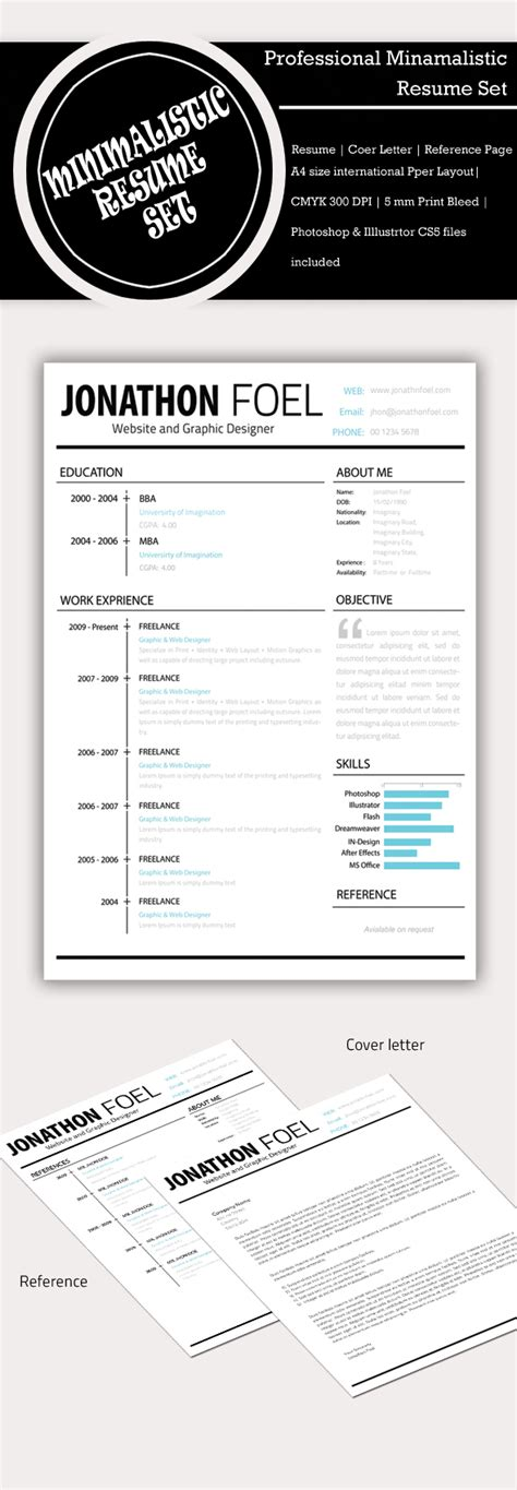 minimalist resume template photoshop freebie minimalistic psd resume template