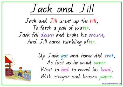 printable lyrics for nursery rhymes jack and jill nursery rhyme