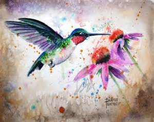 Hummingbird Garden Decor Hummingbird Painting Etsy