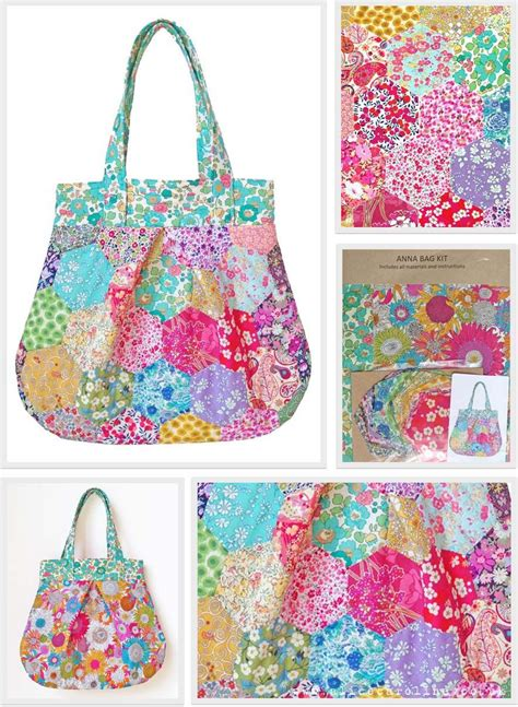 Patchwork Bag Kits - new liberty fabric hexagons patchwork bag kit