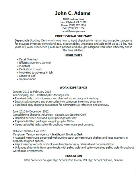 Job Objective Resume Banking by Professional Stocking Clerk Templates To Showcase Your