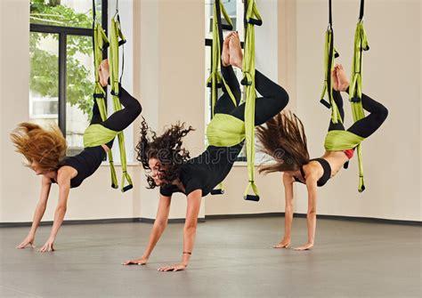 yoga swing exercises antigravity yoga exercise indoor stock photo image 64604452