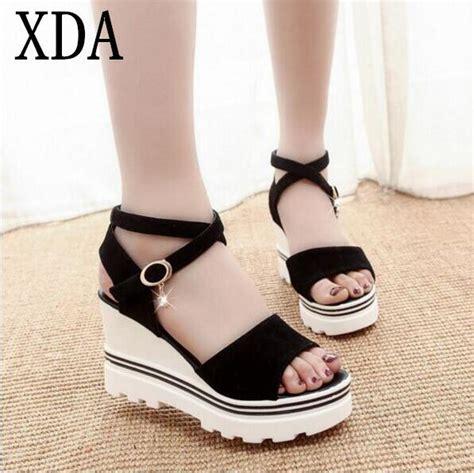 Sandal Fashion Korea 288 xda 2017 summer korean muffin fish sandals with platform sandals simple shoes