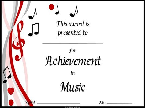 templates for music certificates 59 best music award certificates images on pinterest