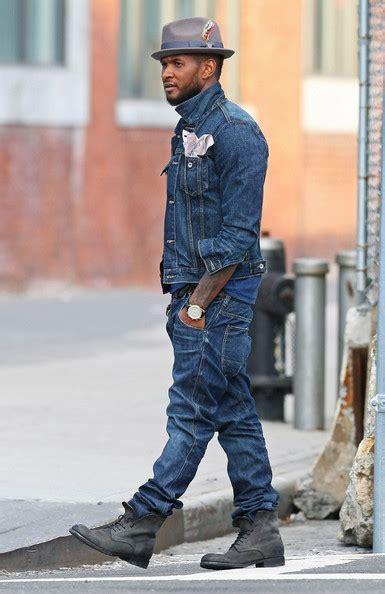 Khalifa Dress Smoke Grey usher rocks denim and brixton gain fedora hat upscalehype