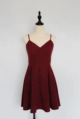 simple cute wine red straps homecoming dresses velvet